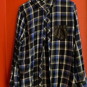 Faux Leather Patch Flannel